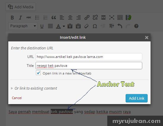 Tips Kepentingan Anchor Text Untuk Artikel Di Blog Website