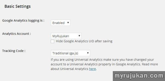 Enable Google Analyticator Setting