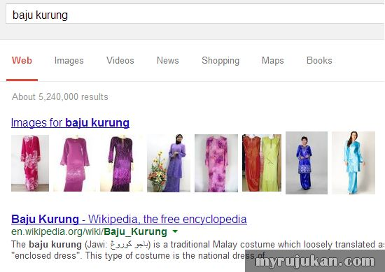 Keyword Baju Kurung di Google