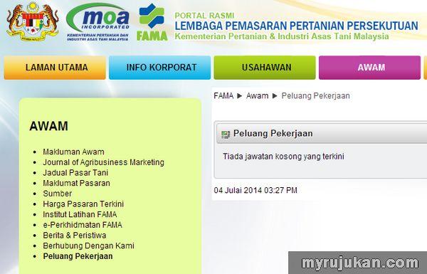 Iklan Peluang Pekerjaan di Lembaga Pemasaran Pertanian Persekutuan (FAMA)