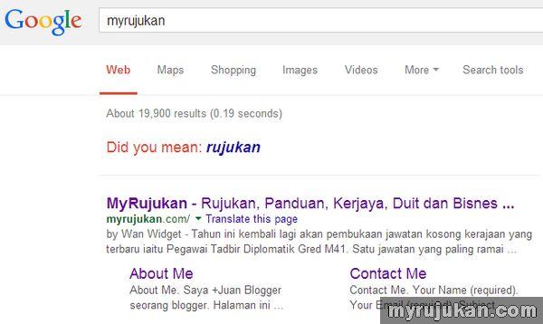 domain myrujukan berjaya muncul di halaman pertama Google