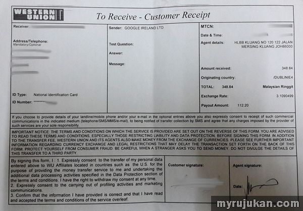 Cara Keluarkan Duit Adsense Melalui Hong Leong Bank