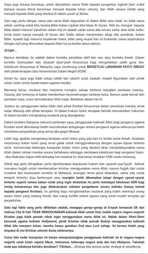 Pandangan Ustaz Zaharuddin dalam blognya