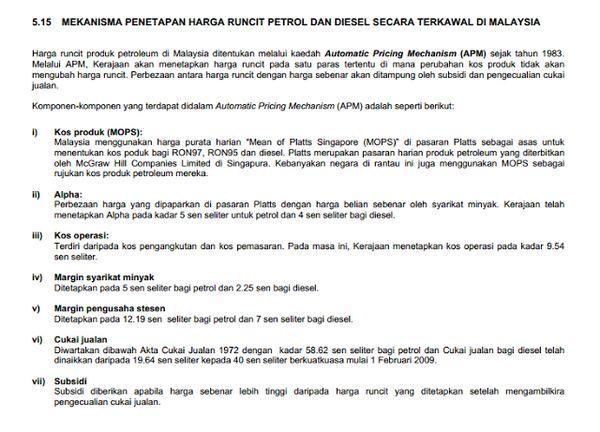 Cara Kiraan Harga Petrol Ron 95 Malaysia