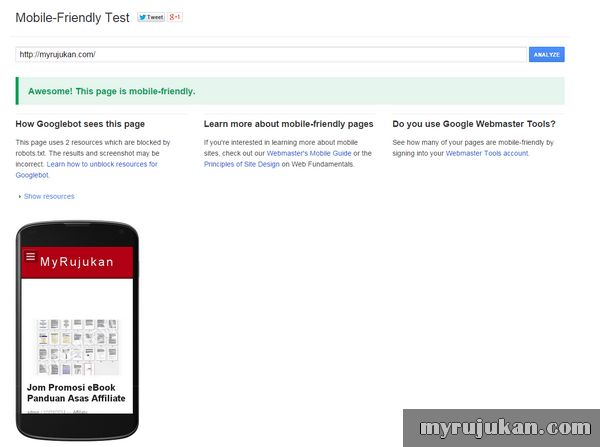 Mobile Friendly Test Berjaya
