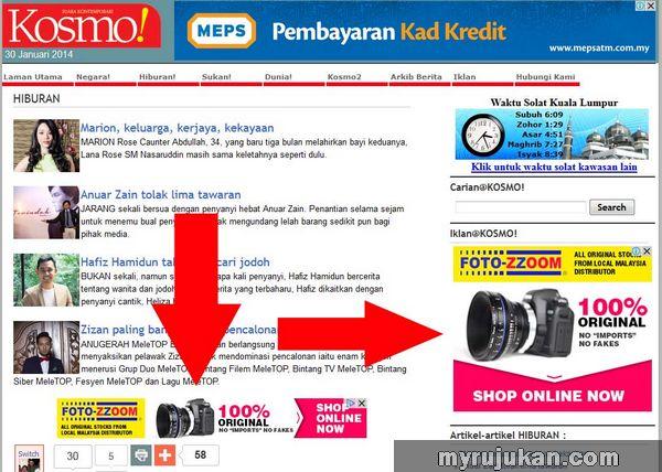 Dapat Trafik Dengan Beriklan di Website Kosmo Online