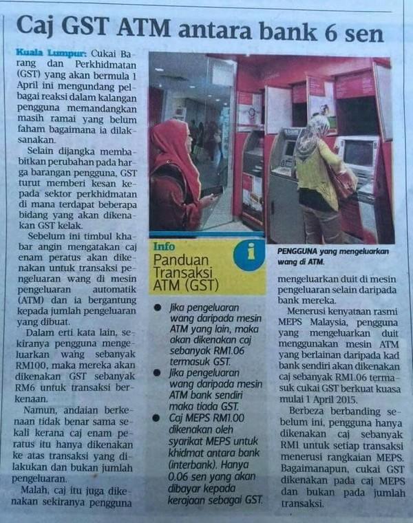 Caj GST ATM Bagi Pengeluaran Wang Di Mesin ATM Meps