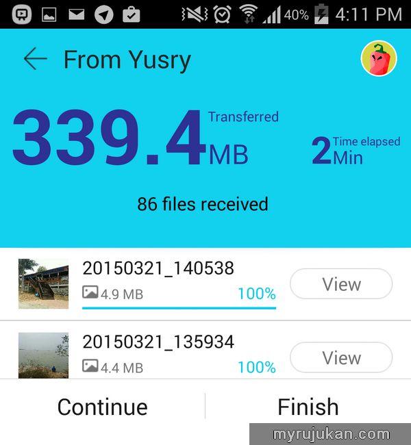 Menghantar Fail Antara Smartphone cepat dengan SHAREit