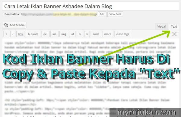 Cara Letak Iklan Banner Ashadee Dalam Blog
