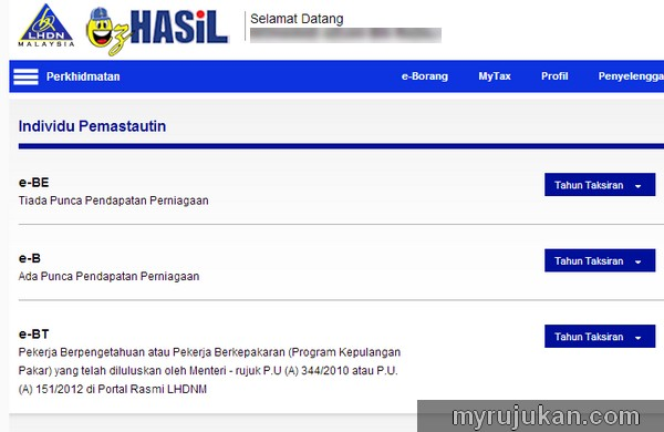 Kemaskini Income Tax Di Website e-Filing LHDN