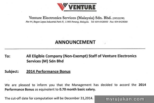 Bonus profit sharing kilang Venture Electronics Penang