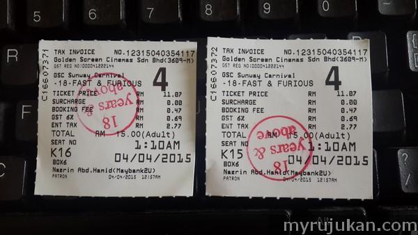 Nilai Cukai GST Pada Harga Tiket Wayang