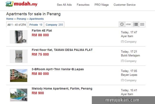 laman website cari rumah Malaysia popular