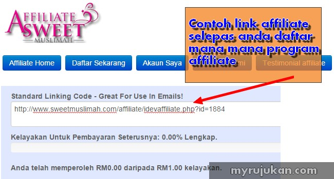 Contoh link affiliate dalam program affiliate