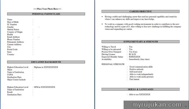 Contoh bentuk resume kerja