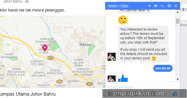 Contoh sebenar permintaan review berbayar