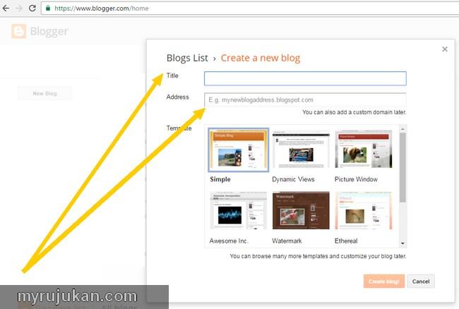 buat blog percuma dengan blogspot