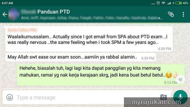 Group Whatsapp calon ptd yang mahu beli buku panduan exam ptd