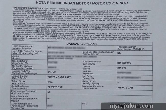 Insurance motor cover note untuk daftar menjadi pemandu uber