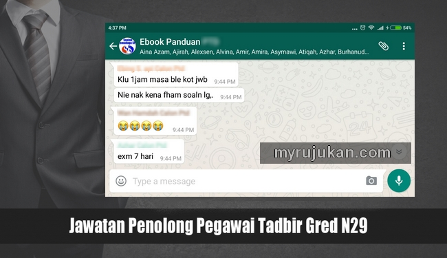 Join dan sertai group whatsapp dengan calon Penolong Pegawai Tadbir N29 yang lain