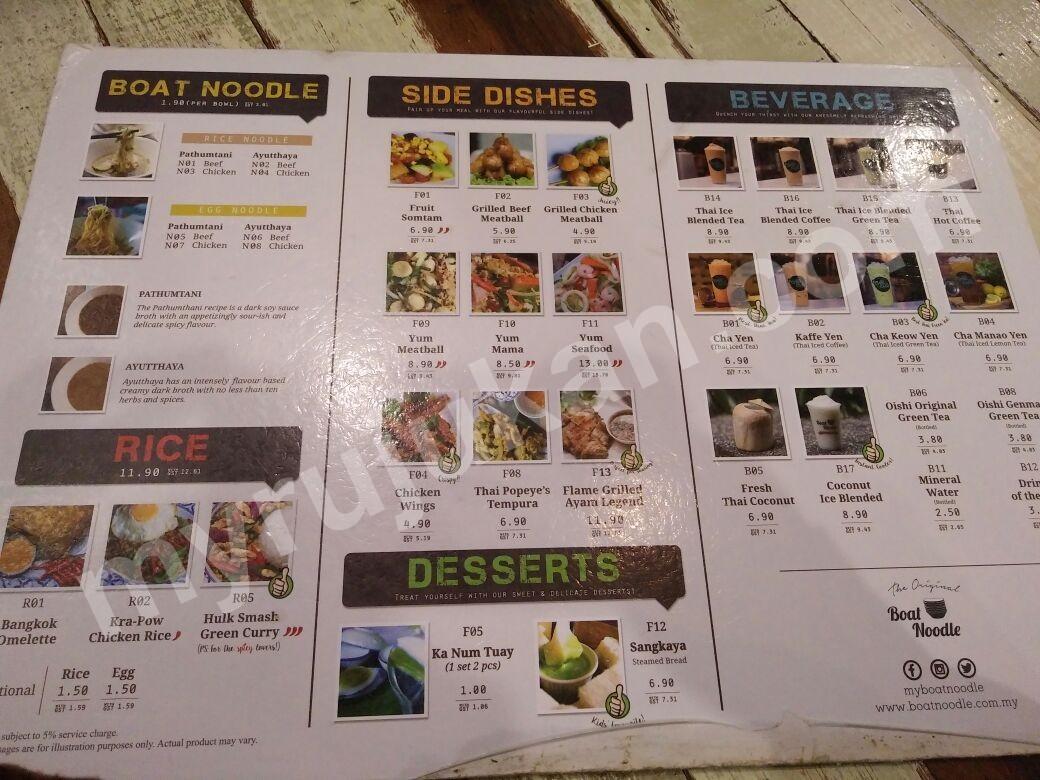 Menu makanan dan harga di Thai Boat Noodle