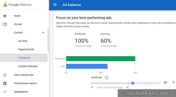 Membuat setting tetapan pada Google Adsense Ad Balance