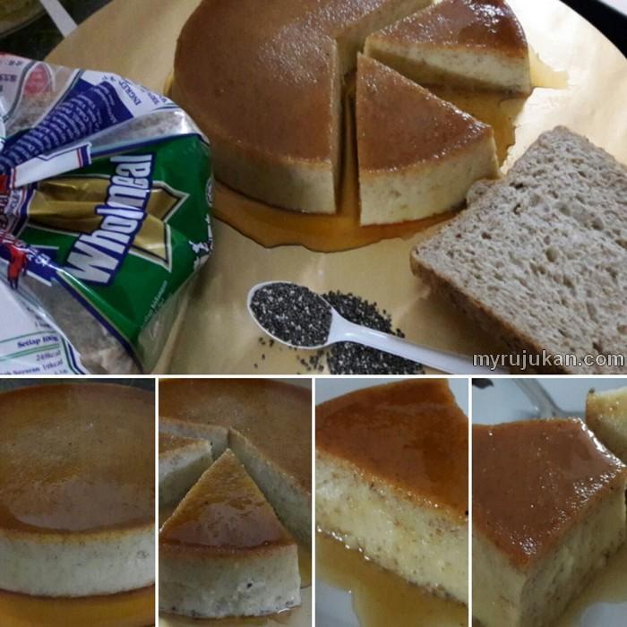 Hidangan Kek Puding Karamel Roti Chia Seed