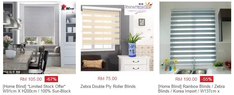 Anda boleh beli roller blind yang cantik, terkini dan murah di Lazada Malaysia