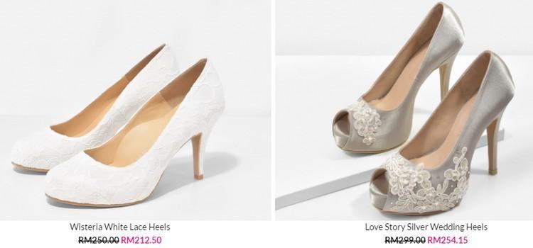 Beli kasut pengantin untuk wanita perempuan dari jenis lace bunga di internet