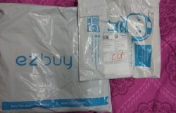 Pek bungkusan produk barangan yang saya terima dari Ezbuy