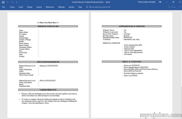 Download Template Resume Bahasa Melayu - MyRujukan