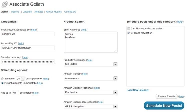 Contoh sebenar setting plugin auto post Amazon di website WordPress anda
