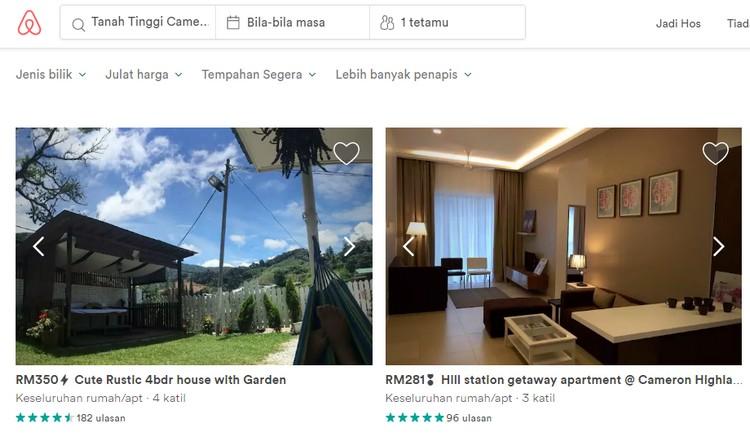 Mencari sewa bilik penginapan berbentuk rumah sebenar