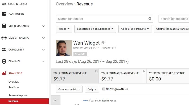 Income bulanan yang saya terima hasil dari buat duit video YouTube