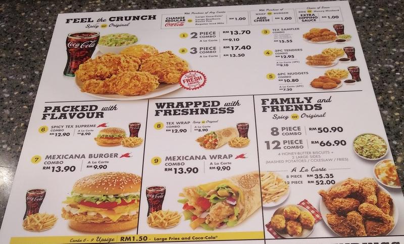 Menu Utama Texas Chicken Malaysia