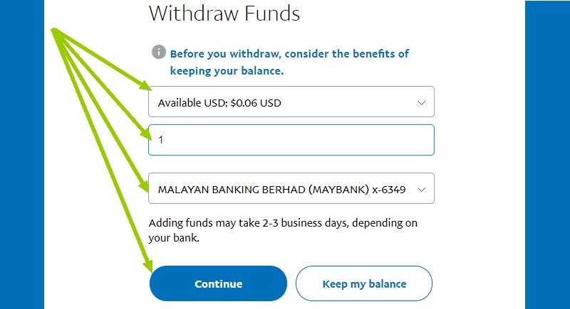 Transfer duit PayPal ke akaun bank Maybank