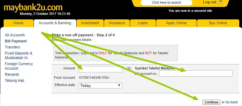 Bayar polisi insurans takaful melalui Maybank2u