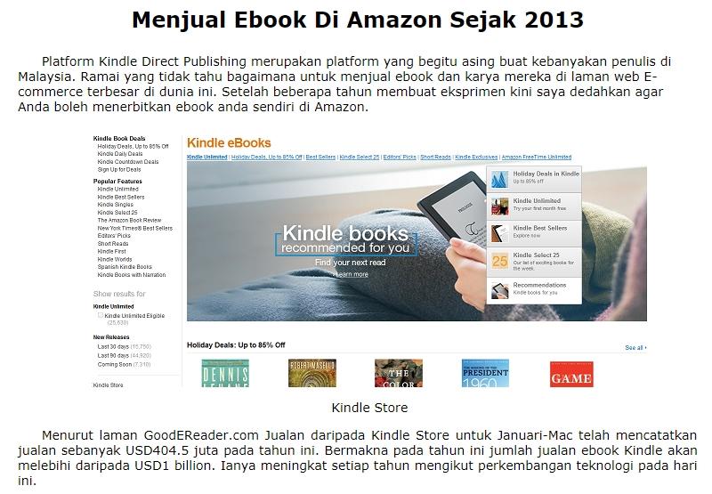 Jana income online dengan ebook kindle