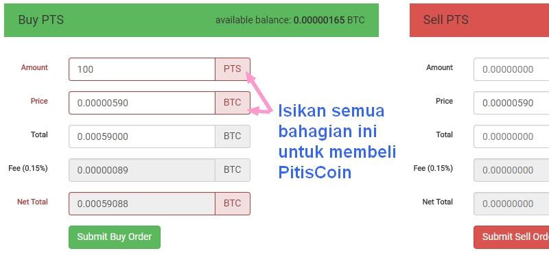 Kaedah untuk beli PitisCoin di CoinExchange