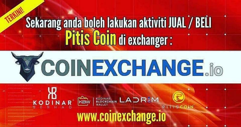 PitisCoin Kini Boleh Jual Dan Beli Di Coinexchange