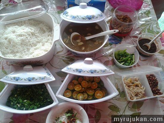 Hidangan Komponen Bihun Sup Ayam