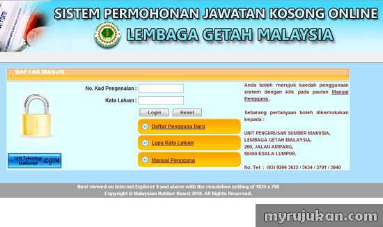 Mohon Kerja Kerajaan dengan Lembaga Getah Malaysia