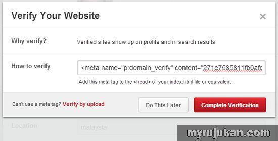 Cara Verify Blog WordPress Dari Pinterest