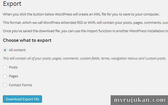 Memindahkan Artikel Melalui WordPress Export