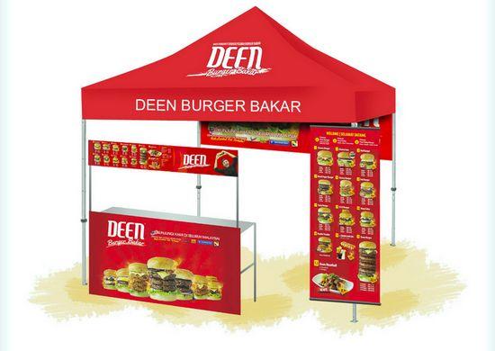 konsep kiosk buka-pasang untuk Usahawan Burger Bakar dari Deen Burger Bakar