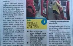 Keratan akhbar tentang caj GST ATM mesin bank