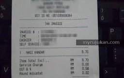 Resit GST harga makanan di kedai mamak