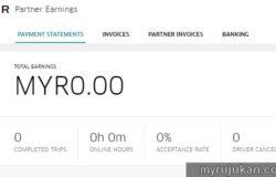 Contoh paparan earning selepas mendaftar menjadi pemandu uber