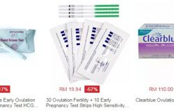 Contoh produk ovulation test yang digunakan untuk kesan kehadiran benih ovum wanita