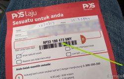 Contoh sebenar notis surat pos laju yang mempunyai nombor tracking